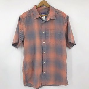 Patagonia Button Up Shirt Orange Navy Check
